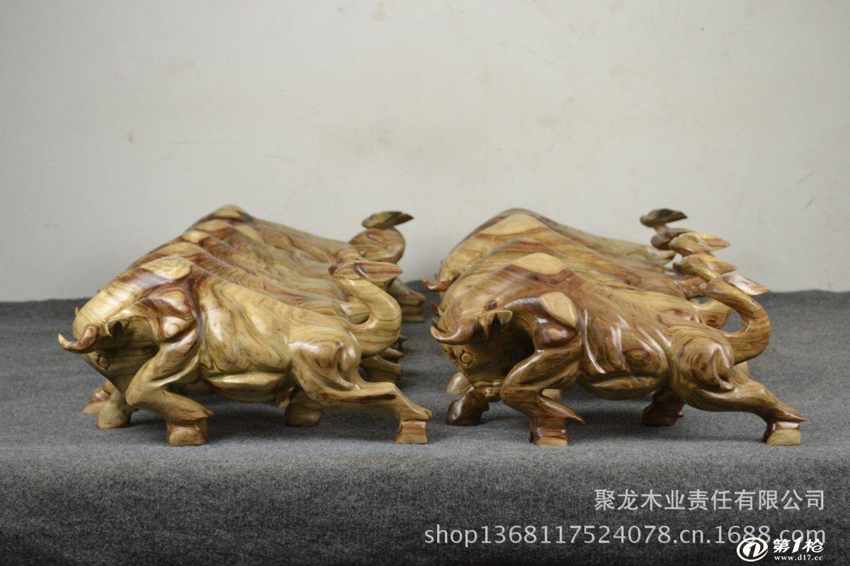 根雕动物 招财牛 生肖动物工艺品 香樟木摆件根雕斗牛 送领导