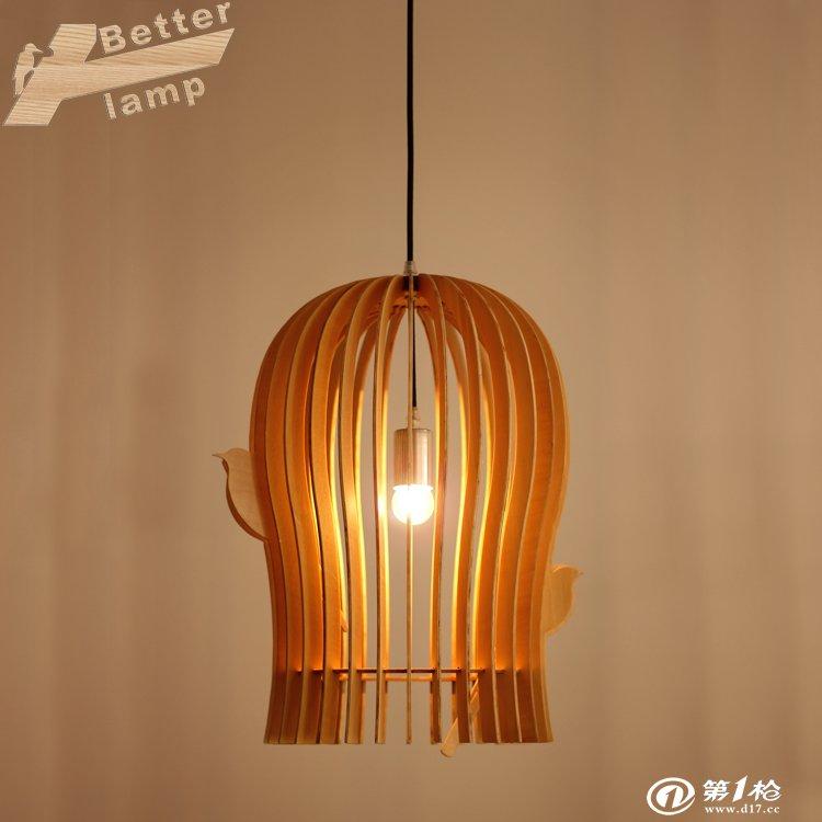 新中式现代鸟笼吊灯 原木创意灯 个性田园乡村木艺吊灯