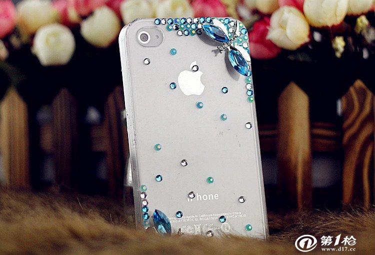 简单两只蜻蜓iphone苹果4s5水钻手机壳 三星htc小米可爱保护套