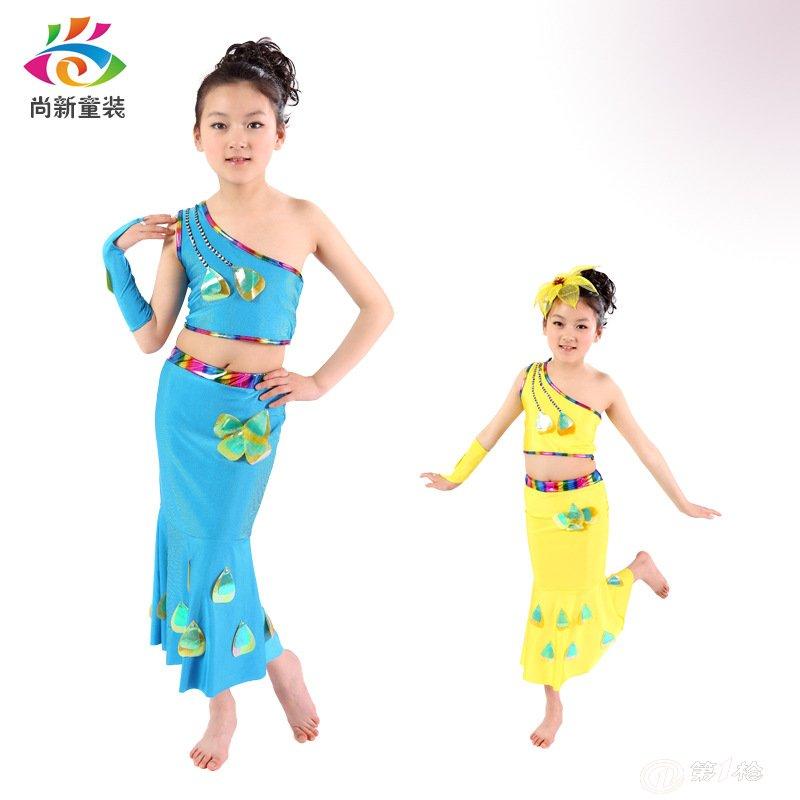 新款儿童傣族孔雀舞舞蹈服装 幼儿园六一儿童节少数民族舞蹈服