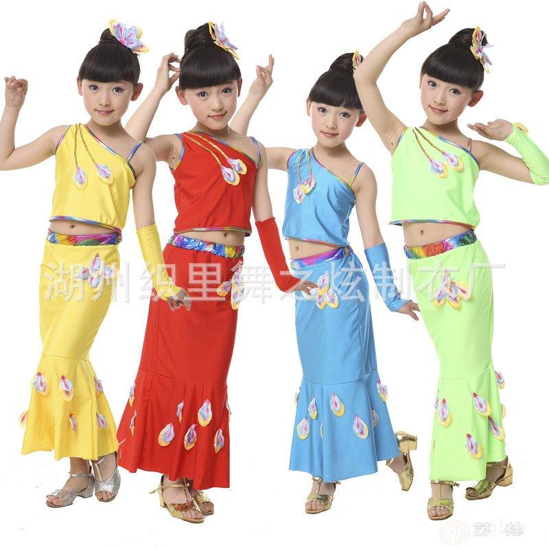 儿童演出服装民族舞蹈服装女童演出孔雀舞儿童服饰月光傣族服