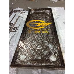 厂家直销中式不锈钢精品雪拉丝8K玫瑰金镂空花格屏风