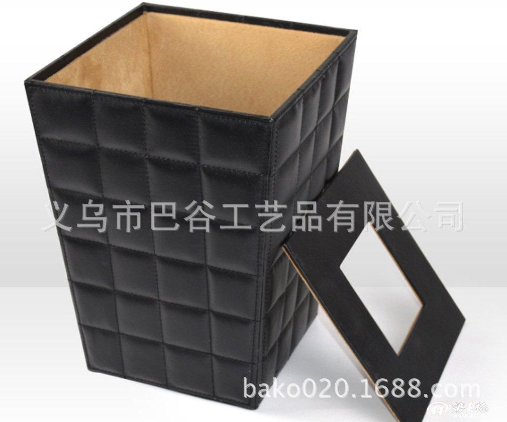 厂家订做皮质垃圾桶 方形皮质收纳桶 皮革卫生桶 酒店