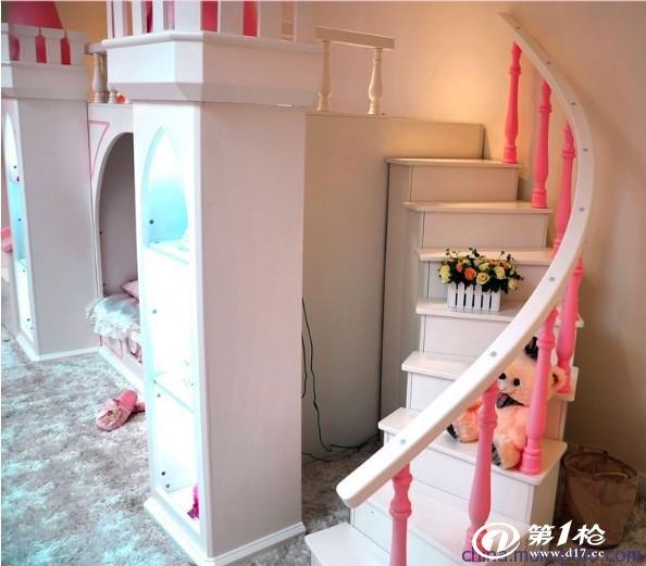 供应小木匠004上下铺床高低子母床欧式公主城堡床 楼梯床直销