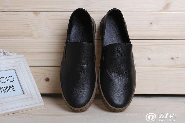 13外贸新品 英伦时尚单层真牛皮男士懒人鞋 休闲板鞋
