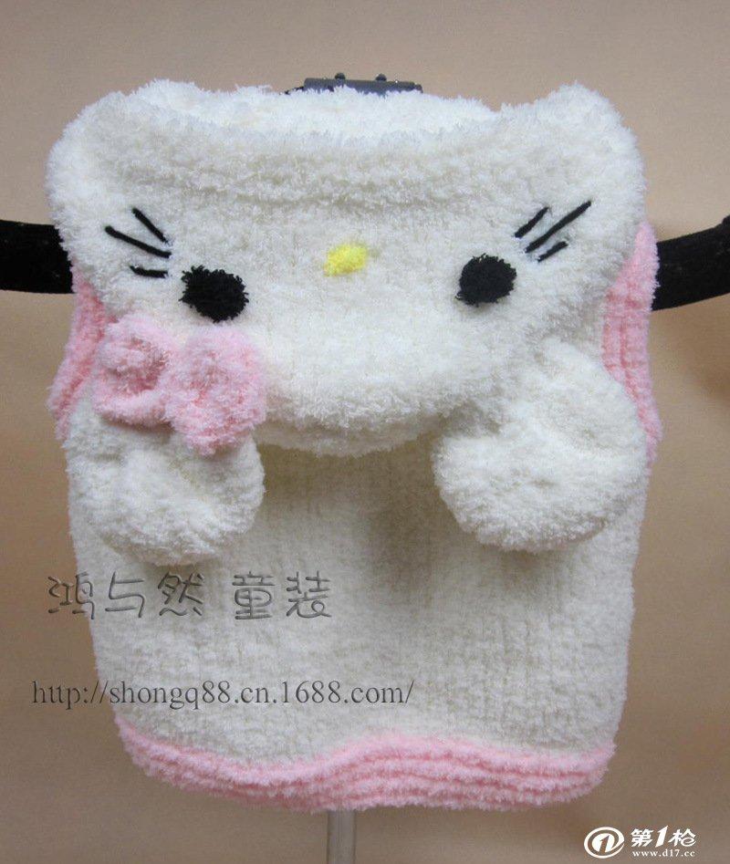 宝宝毛线开衫外套 男女童装绒绒线编织动物造型马甲 雪尼尔毛衣