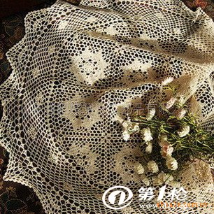 纯手工钩针床罩,丝带绣