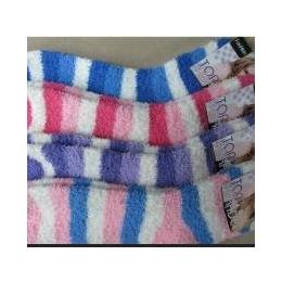 供应毛绒袜 桃形条纹半边绒袜子批发 运动袜批发