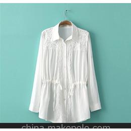 2014棉麻蕾丝衬衫3色 女韩版时尚新款衬衫 精品女装衬衣