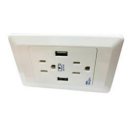 美标白色黑色防电防火进口PC材料专业进口美式双USB墙面插座