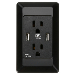厂家直销智能美标开关插座白色黑色带双USB专业多功能环保插座
