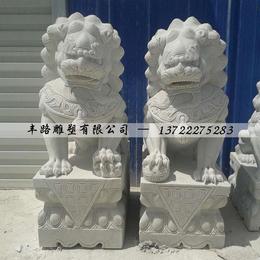 大理石传统石狮子 汉白玉石狮子摆件