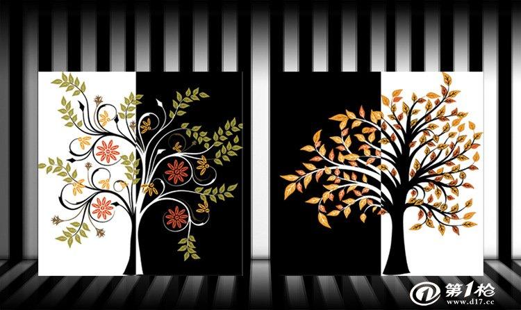 发财树黑白树对称 玄关装饰画无框画 电视背景墙家庭装饰画风景图