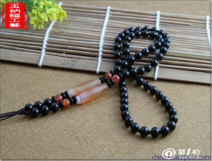 厂家直销 高档黑色玛瑙珠链 手工diy编织玉石饰品项链