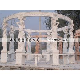 汉白玉欧式西方人少女主题凉亭雕刻
