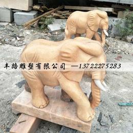厂家定制晚霞红石雕大象 门口景观雕塑