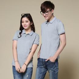 供应青岛韩领T恤厂家直销情侣款新品套装夏季短袖丝光棉