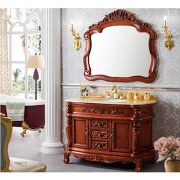 简欧式浴室柜组合 红橡木仿古 落地式雕花洗漱台