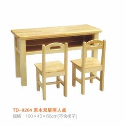 江西幼儿园实木课桌椅 双人课桌椅缩略图