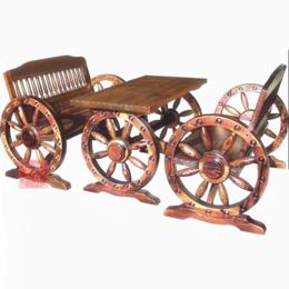 江西防腐木桌椅 双人车轮桌椅