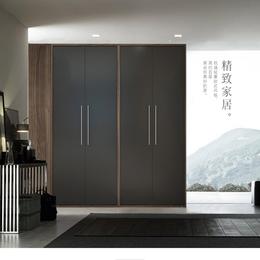 北欧木质衣柜四门卧室储物大衣橱立柜收纳推门板式多功能
