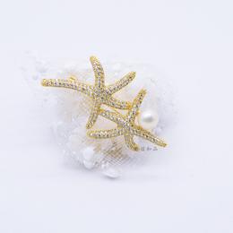 ll  ll 金色个性珍珠胸针 女海星造型别针