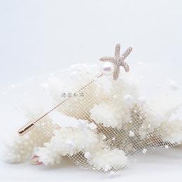 ll  ll 金色简约珍珠胸针 女海星造型别针