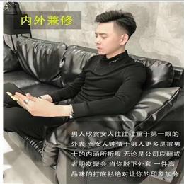 驰帝欧男士半高领长袖T恤韩版修身磨毛加厚上衣