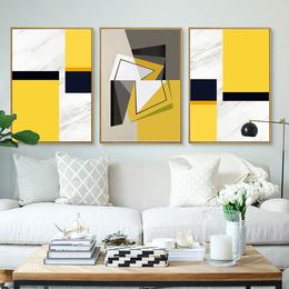 蘑菇堡 大理石纹黄色色块装饰画缩略图