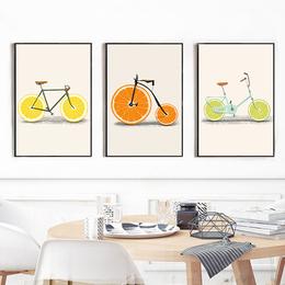 蘑菇堡 水果自行车装饰画