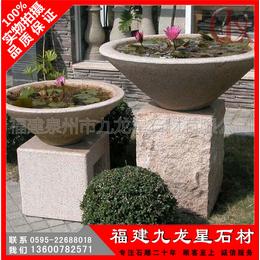 黄锈石欧式石雕花钵 各种室内外石材花钵造型定做
