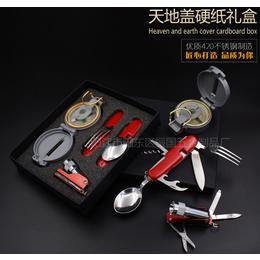 指南针多功能刀 户外折叠便携餐具 野营edc多用组合工具套装