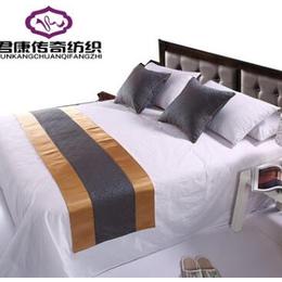 酒店四件套纯棉旅店宾馆床上用品直销纯棉白色贡缎提花床单批发