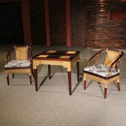 供应厂家直销3052 定制分色藤编单椅实木真藤桌椅组合三件套