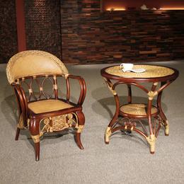 供应厂家直销3005B 水曲柳实木椅阳台桌椅藤圈椅三件套