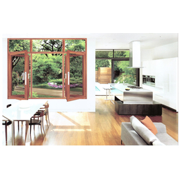 明业门窗  128窗纱一体  铝木窗