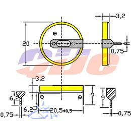 卧式CR2032焊脚纽扣电池