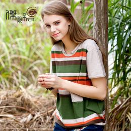 2017春新款民族风刺绣条纹图案大码女装宽松t恤女短袖上衣