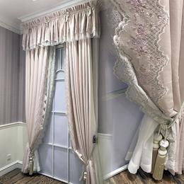 美式田园风格纯色小清新高机密绣花裸粉色绣花窗帘
