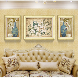 发财鹿美式欧式有框沙发背景墙装饰画
