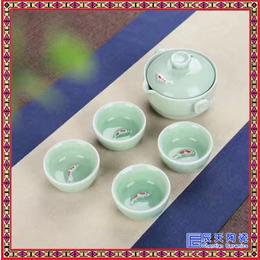 供应旅行快客杯 批发便携私人茶具 手绘一壶两杯茶具