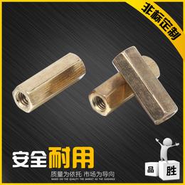厂家加工非标黄铜六角圆柱螺母定制外六角连接不锈钢螺柱加长螺母