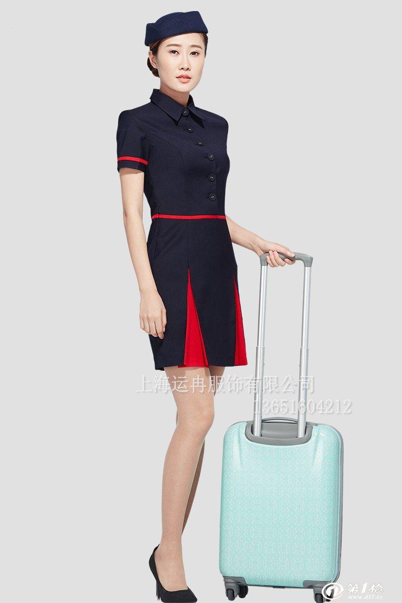 供应运冉东航空姐制服职业套装连衣裙夏季航空服高铁工作服厂家