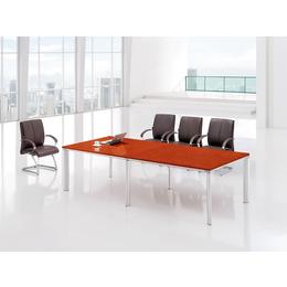 公司企业接待洽谈区域油漆樱桃木色洽谈会议台