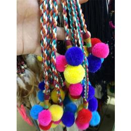 彩色毛球吊坠麻花辫绳带包袋绳带
