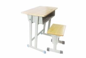 固定双柱橡木板课桌凳