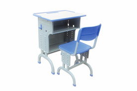 弯脚双柱双层升降课桌椅