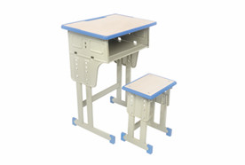 单人双柱单层课桌凳