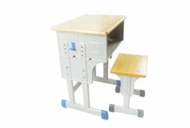单层双柱橡木板课桌凳