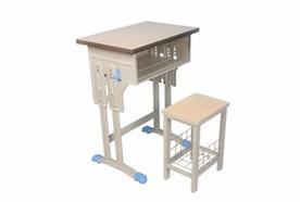 单人双柱单层课桌方凳